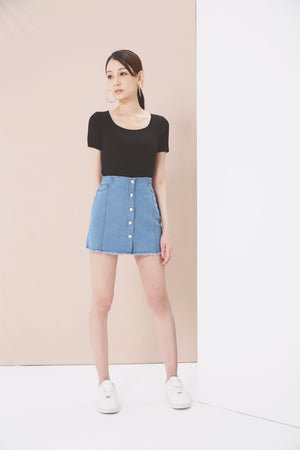 Denim Skirt Pants 3761 - ample-couture
