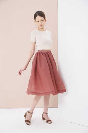 Tie Front Top with Flare Skirt Set 3738 - ample-couture