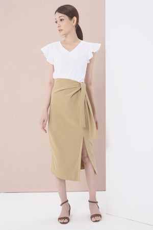 Tie Front Slit Midi Skirt 3748 - ample-couture
