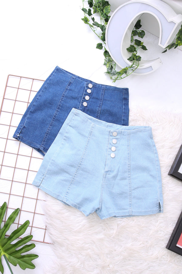 High Waist Denim Shorts 3814 - ample-couture