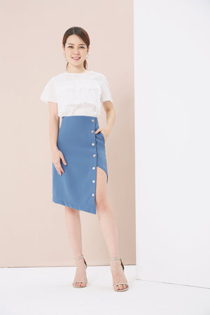 Button Side Midi Skirt 3794 - ample-couture