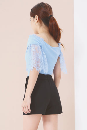 Off Shoulder with Lace Detail Top 3844 - ample-couture
