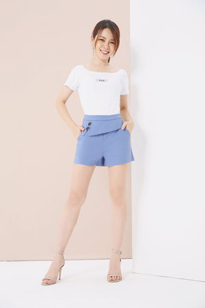 Button Front Flare Shorts 3839 - ample-couture