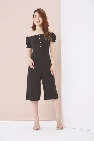 Puff Sleeves Midi Jumpsuit 3858 Black / S Jumpsuits