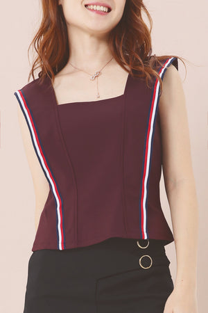 Dual Tone Stripe Detail Top 3878 - ample-couture
