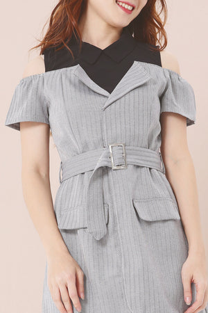 Striped Cold Shoulder Romper 3883 - ample-couture