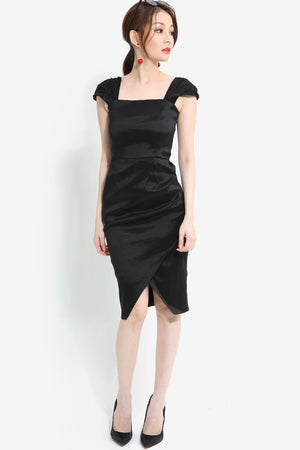 Overlap Hem Dress 1049 - ample-couture