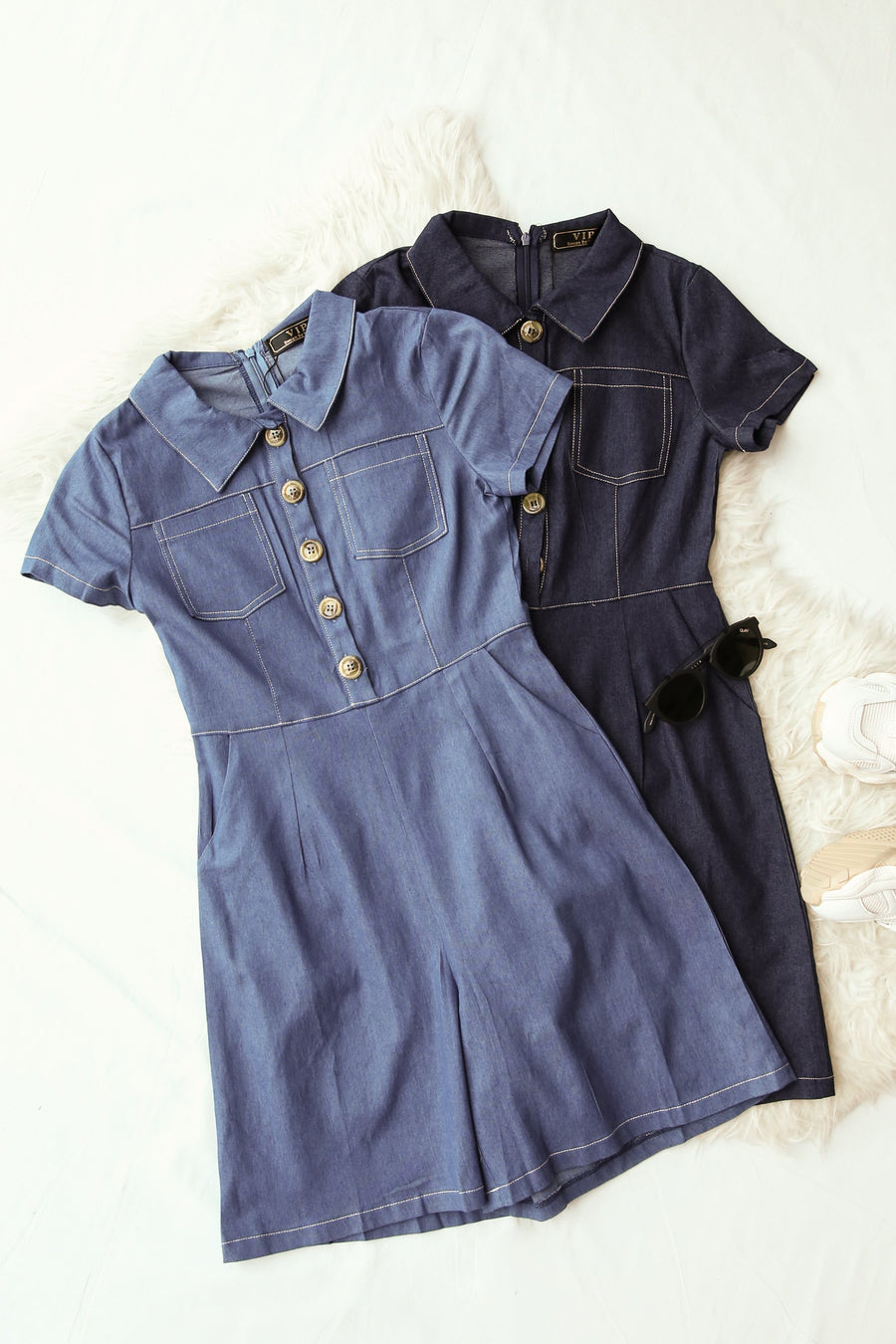 Denim Cargo Romper 4247 - ample-couture