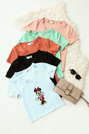Frill Trim Graphic Tee (Mickey) 4251 - ample-couture
