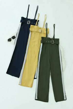 Buckle Belted Suspender Pants 4451 - ample-couture