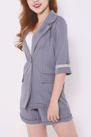 Striped Blazer with Shorts Set 4468 - ample-couture