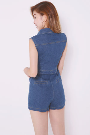 Denim Collared Romper 4501 - ample-couture