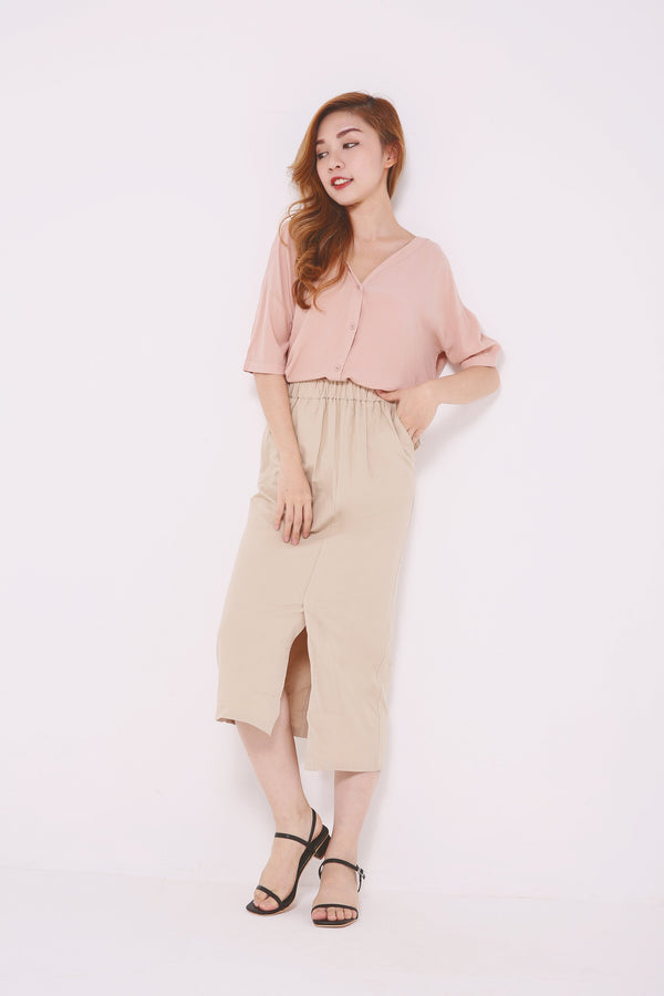Linen Slit Skirt 4610 - ample-couture