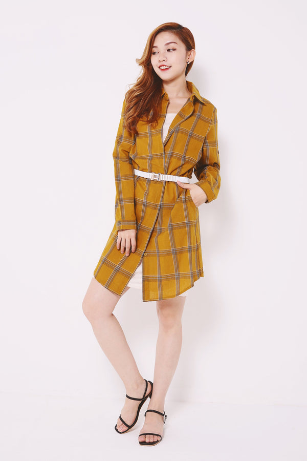 Plaid Button Dress 4654 - ample-couture
