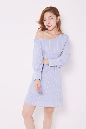 One Shoulder Striped Dress 4655 Dresses