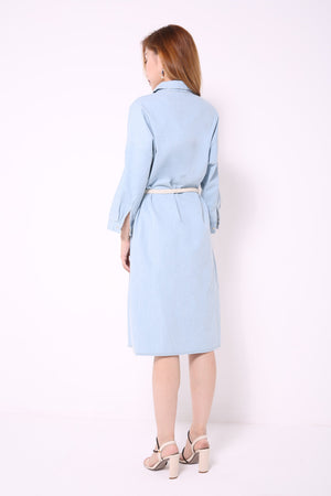 Denim Buttoned Dress 4675 - ample-couture