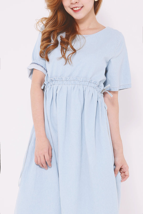 Denim Drawstring Waist Dress 4676 - ample-couture