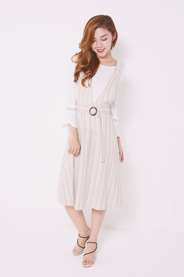 Bell Sleeves Top with Striped Dress 4678 - ample-couture