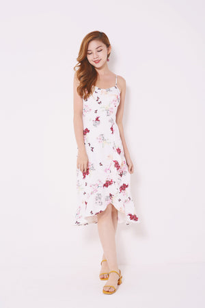 Floral Print Asymmetric Dress 4690 - ample-couture