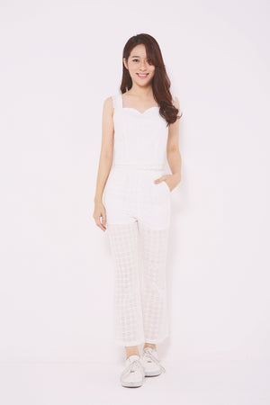 Eyelet Detailed Top with Pants Set 4714 - ample-couture