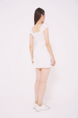 Eyelet Pleated Hem Dress 4724 - ample-couture