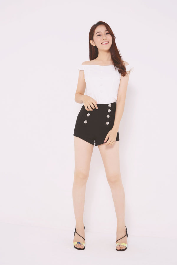Embellished Flare Shorts 4726 - ample-couture