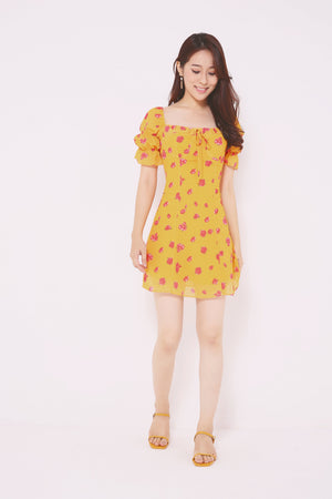 Rose Printed Flare Dress 4729 - ample-couture