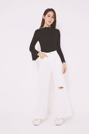Scallop Hem Knit Top 4734 - ample-couture