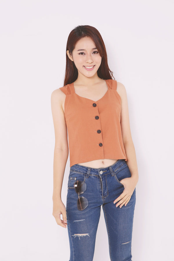 Button Up Cropped Top 4735 - ample-couture