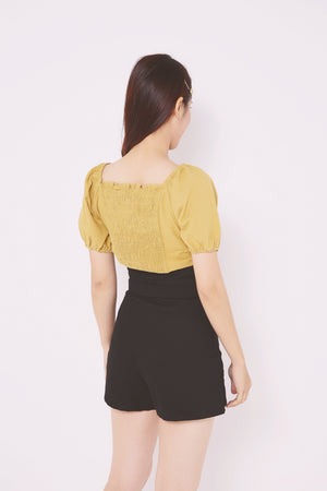 Ruched Back Button Top 4739 - ample-couture