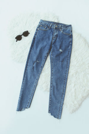 Frayed Hem Washed Jeans 4822
