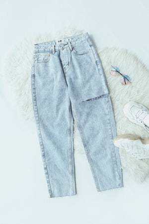 Frayed Hem Washed Jeans 4824