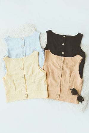 Button Down Sleeveless Top 4868