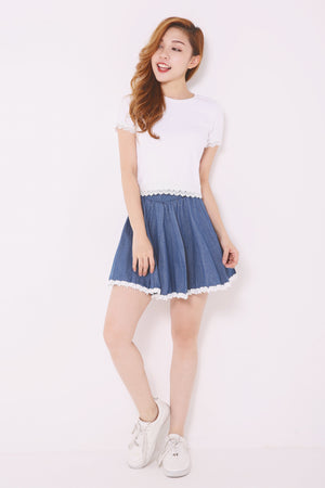 Denim Lace Trim Skirt 4970