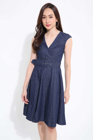 Denim Belted Dress 1116 - Ample Couture