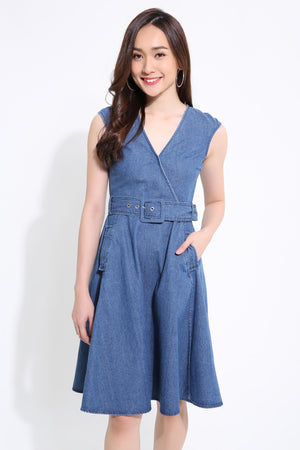 Denim Belted Dress 1116