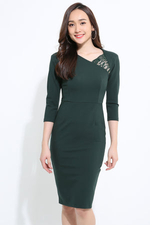 ¾ Sleeve Fitted Dress 1118