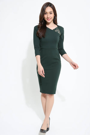 ¾ Sleeve Fitted Dress 1118 - Ample Couture