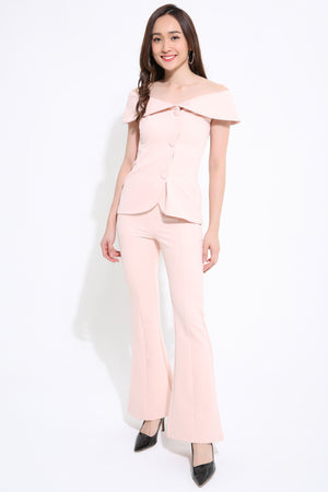 Button Up Top With Pant 1119 White / S Sets
