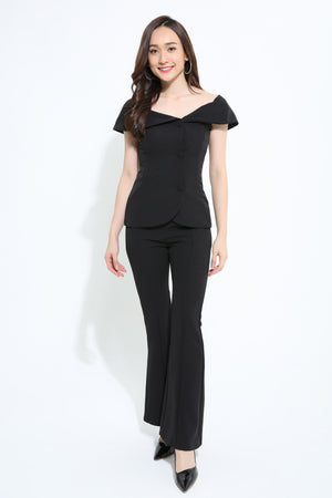 Button Up Top With Pant 1119 Black / S Sets