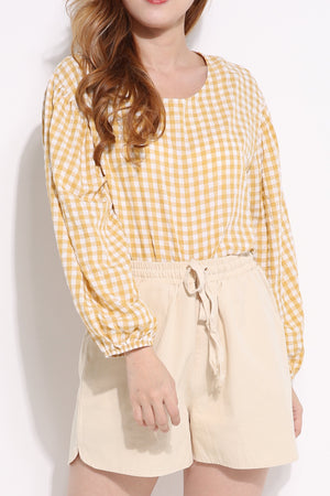 Checker Long Sleeve Top 5103 Tops