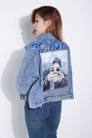 Girl Printed Denim Jacket 5316