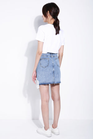 Flower Lace Denim Skirt 5382