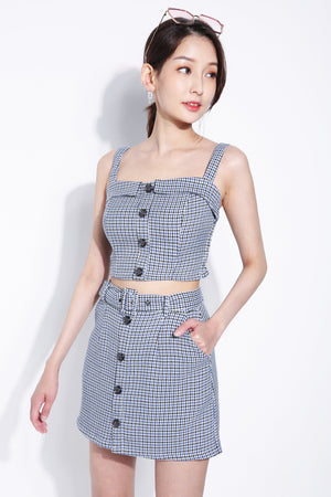 Front Button Checker Strap Top With Skirt Set 5395 Sets