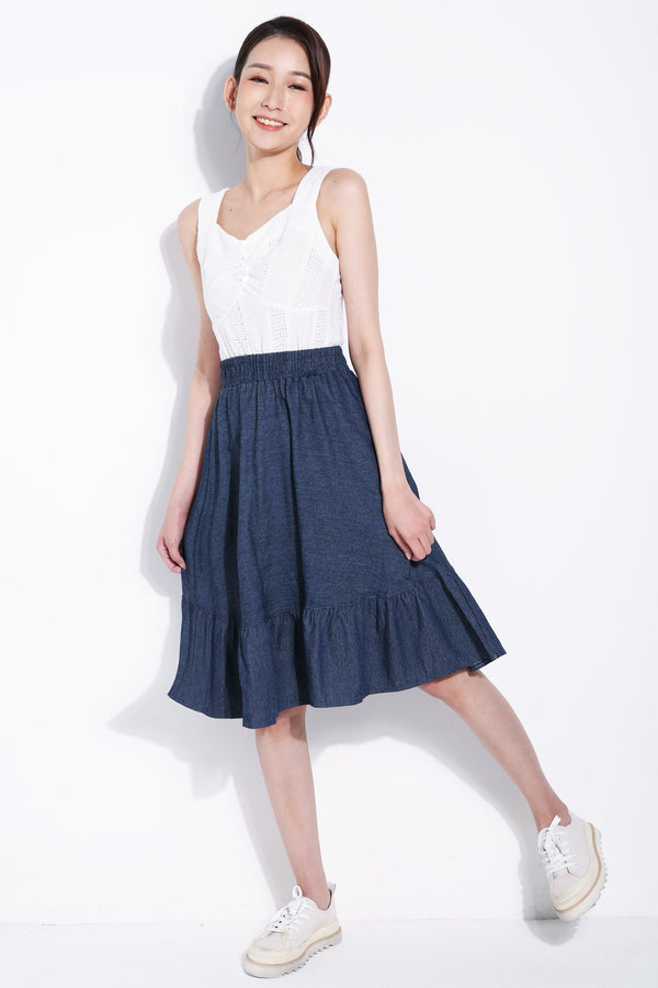 Denim Midi Skirt 5572