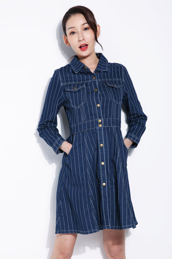 Stripe Denim Dress 5628