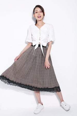Checker Long Skirt 5712
