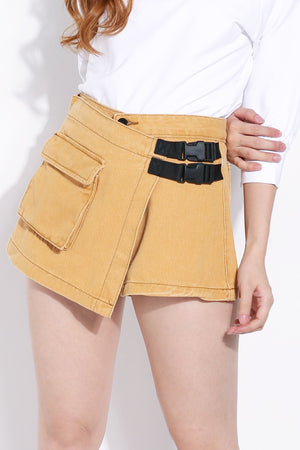 Side Buckle Denim Short Pants 6092A Bottoms