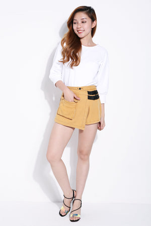 Side Buckle Denim Short Pants 6092A