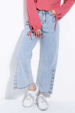 Side Button Denim Long Pants 6091A